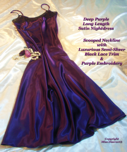 Silky Satin and Lace Long Nightie in Deep Purple - Nightdress Chemise Slip - Size UK 10 to 28